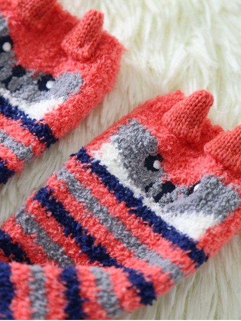 chic Cartoon Owl Coral Fleece Socks - RED  Mobile