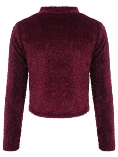 High Neck Fuzzy Cropped T-Shirt - WINE RED L Mobile