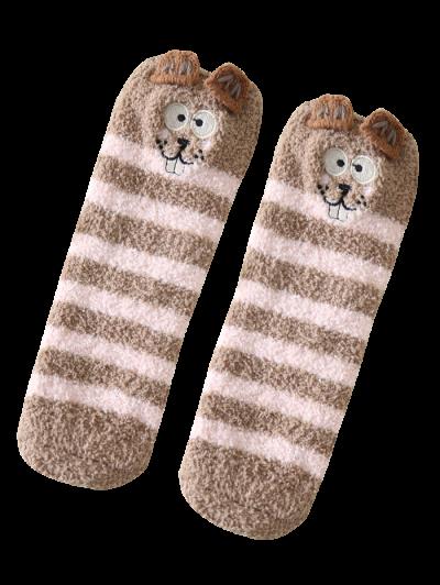 Cartoon Teeth Rat Coral Fleece Socks - DARK KHAKI  Mobile