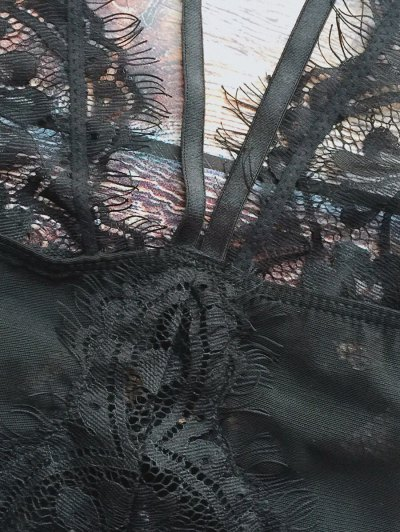Lace Panel See-Through Teddies - BLACK XL Mobile