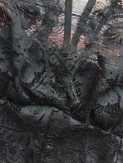 Lace Panel See-Through Teddies - BLACK L Mobile
