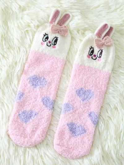 Cartoon Pink Bunny Coral Fleece Socks - Pink