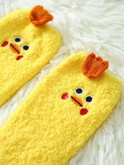 Cartoon Yellow Chicks Coral Fleece Socks - YELLOW  Mobile