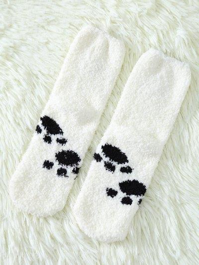 Cartoon Cat Coral Fleece Socks - WHITE  Mobile