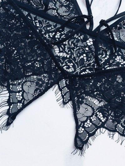Strappy Sheer Lace Bra - BLACK XL Mobile
