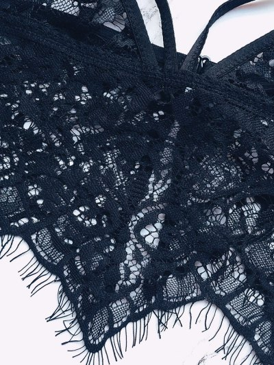 Strappy Sheer Lace Bra - BLACK L Mobile