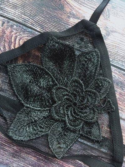 Floral Applique Mesh Bra - BLACK M Mobile