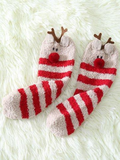 Cartoon Deer Coral Fleece Socks - RED  Mobile
