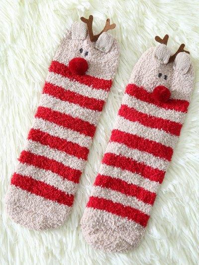 Cartoon Deer Coral Fleece Socks - Red