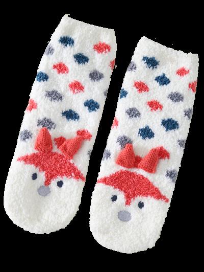 Cartoon Little Fox Coral Fleece Socks - WHITE  Mobile
