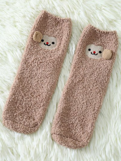 Cartoon Monkey Coral Fleece Socks - KHAKI  Mobile