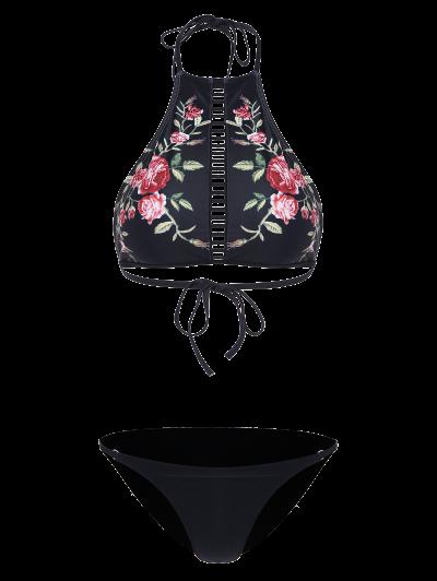 Floral Print Ladder Trim High Neck Bikini - BLACK S Mobile