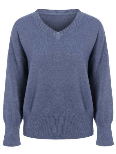 V Neck Long Sleeve Pullover Knitwear - BLUE ONE SIZE Mobile