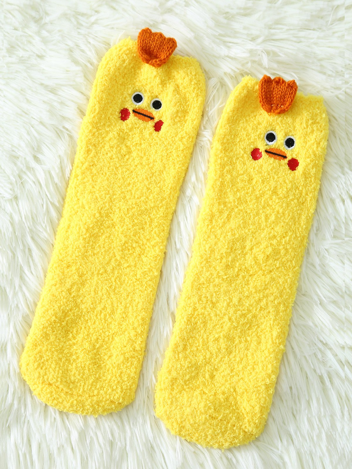 Coral Fleece Cartoon Yellow Chicks Socks
