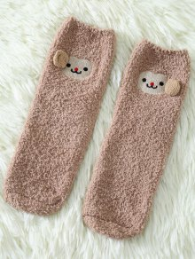 Cartoon Monkey Coral Fleece Socks - Khaki