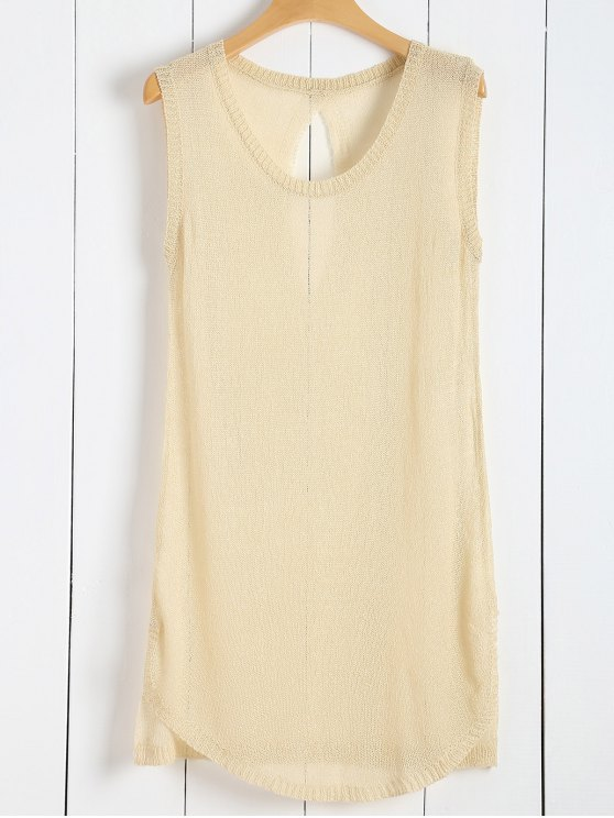 trendy Knitted Vest See-Through Cover Up - APRICOT ONE SIZE