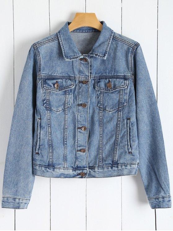 Denim Button Up Jacket With Pockets - DENIM BLUE S Mobile