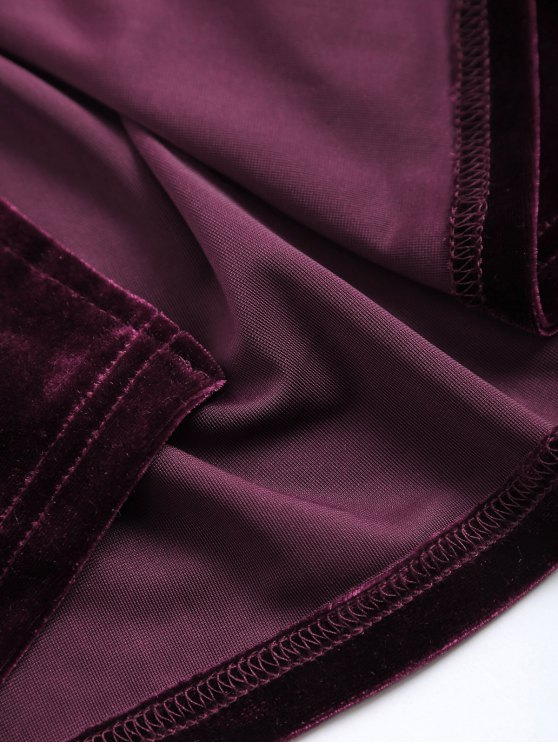 Back Slit Velvet Tank Dress - WINE RED ONE SIZE Mobile