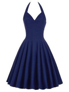 Lace-Up Halter Vintage Swing Corset Club Dress - Purplish Blue S
