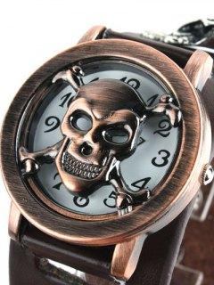 Skull Bone Faux Leather Chain Bracelet Watch - Coffee