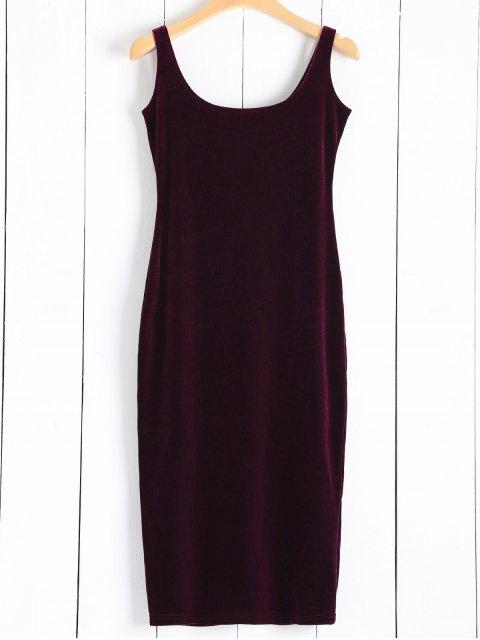 online Back Slit Velvet Tank Dress - WINE RED ONE SIZE Mobile