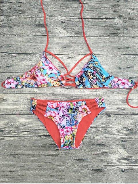 sale Floral Printed Strappy Bikini Set - RED M Mobile