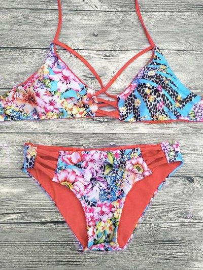 Floral Printed Strappy Bikini Set - RED M Mobile