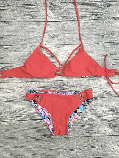 Floral Printed Strappy Bikini Set - RED S Mobile