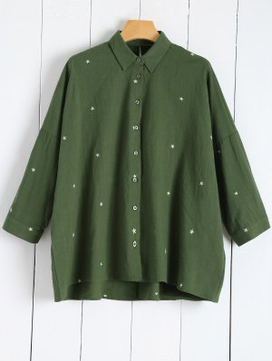 Star Embroidered Collared Shirt - Green