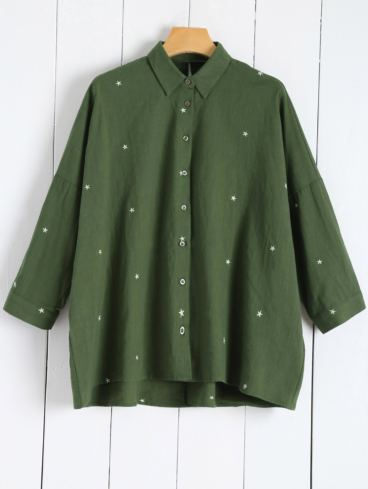 Star Embroidered Linen Blend Shirt