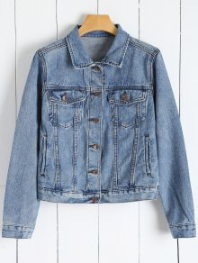 Denim Button Up Jacket With Pockets - Denim Blue