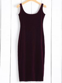 Back Slit Velvet Tank Dress