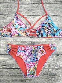 Floral Printed Strappy Bikini Set