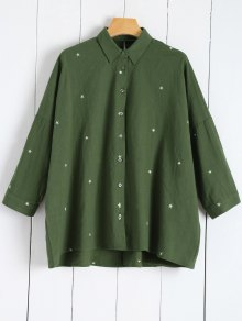 Star Embroidered Collared Shirt