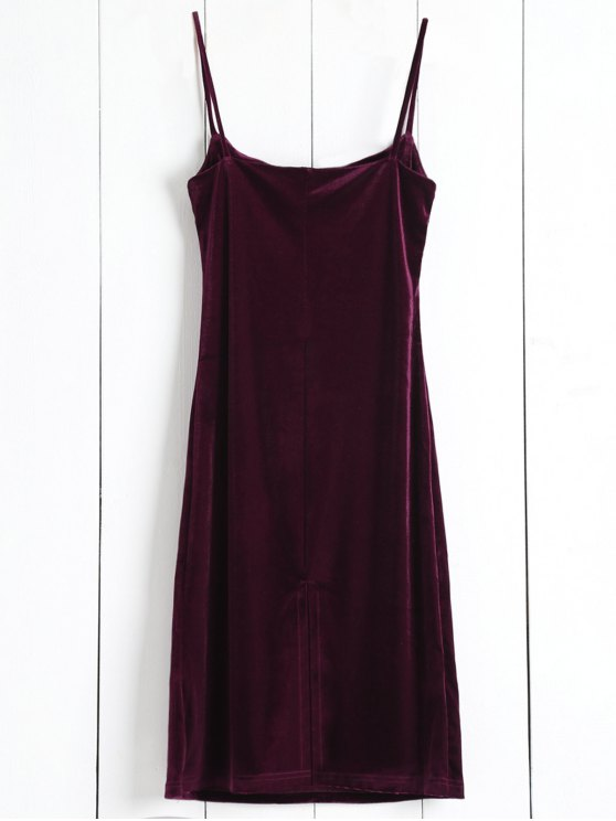Solid Color Spaghetti Straps Velvet Dress - WINE RED ONE SIZE Mobile