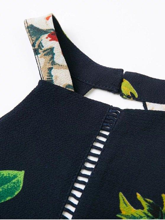 Backless Floral Dress With Ladder Detail - PURPLISH BLUE S Mobile