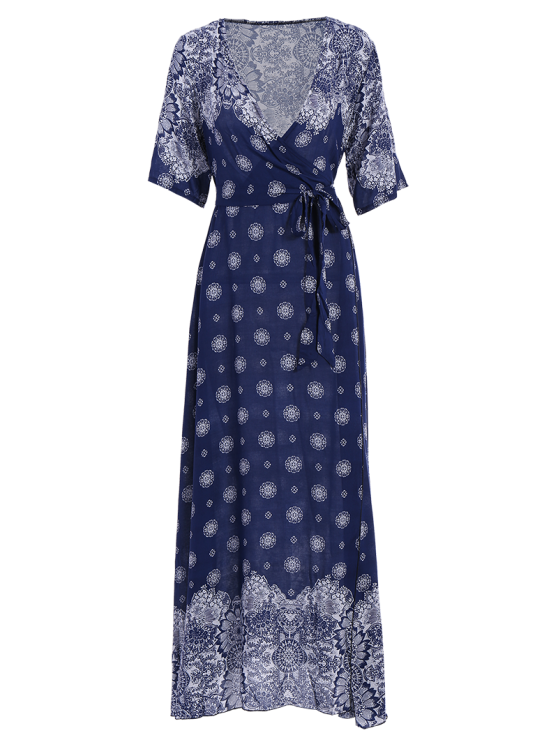 Bohemian Printed Belted Maxi Dress - PURPLISH BLUE ONE SIZE Mobile