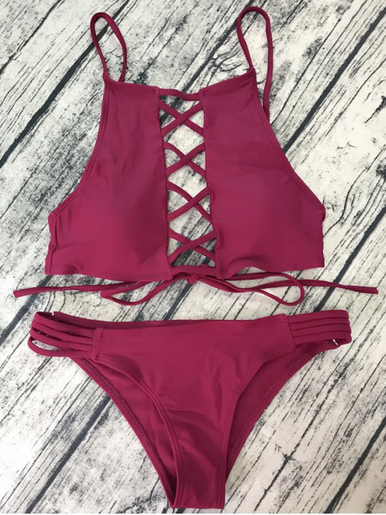 affordable Lace-Up High Neck Bikini - WINE RED M