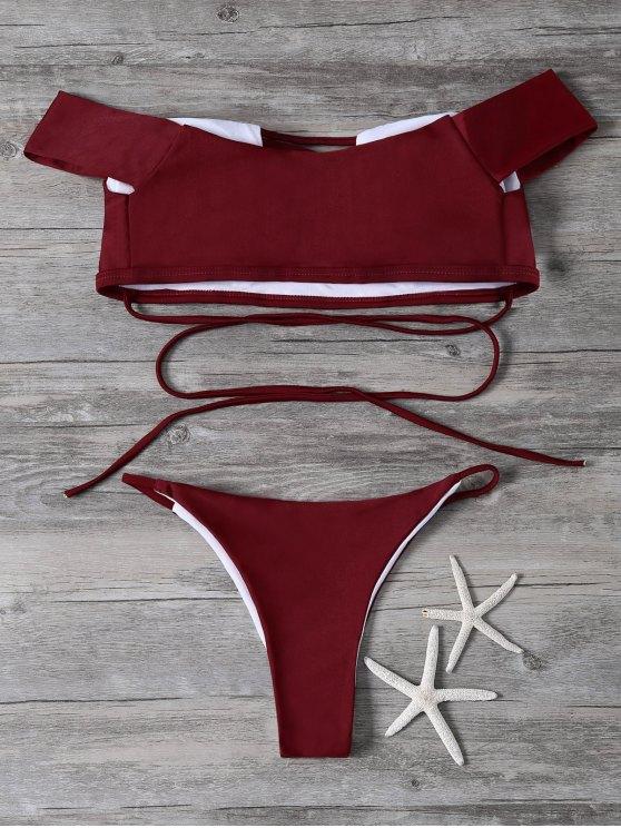 Lace-Up Off The Shoulder Bikini Set - RED L Mobile