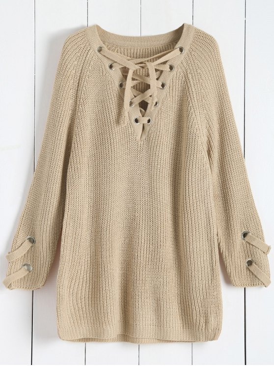shops Lace Up V Neck Solid Color Sweater - APRICOT ONE SIZE