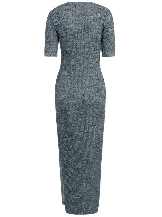 Ribbed Long Dress - GRAY XL Mobile