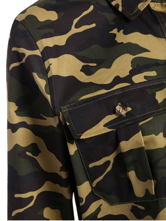 Pocket Camo Jacket - ARMY GREEN 2XL Mobile