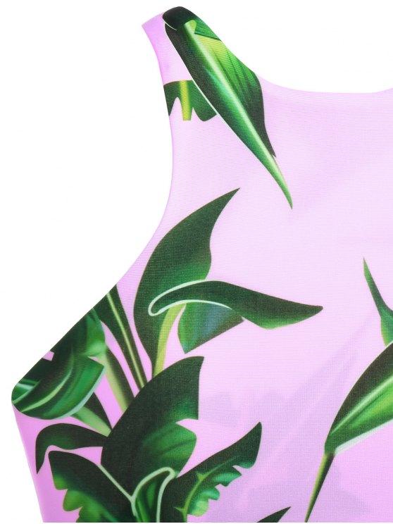 V String Printed High Neck Bikini - PINK XL Mobile