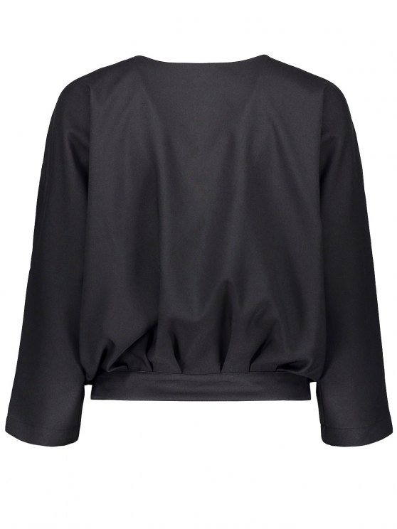 Batwing Sleeve Tie Back Blouse - BLACK M Mobile