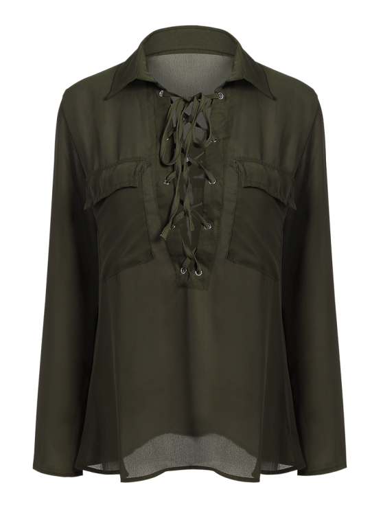 Lace-Up Turn Down Collar Long Sleeves Shirt - ARMY GREEN XL Mobile