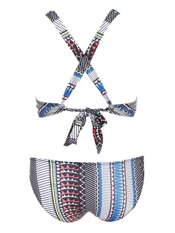 Printed High Neck Cross Back Bikini - COLORMIX L Mobile