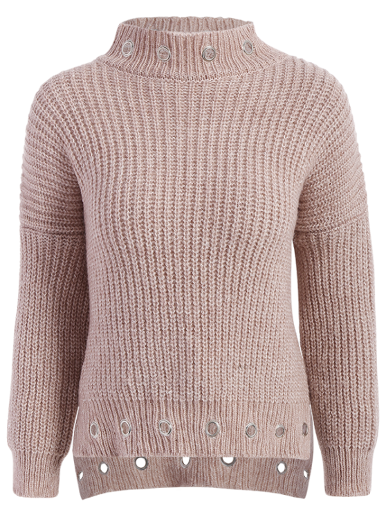 High Low Ring Embellished Ribbed Sweater - NUDE PINK ONE SIZE Mobile