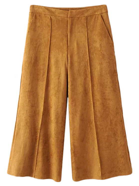 women Gaucho Faux Suede Pants - DARK KHAKI L