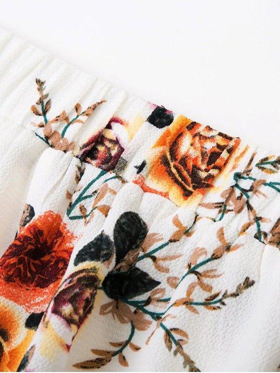 Slit Floral Wide Leg Pants - WHITE M Mobile