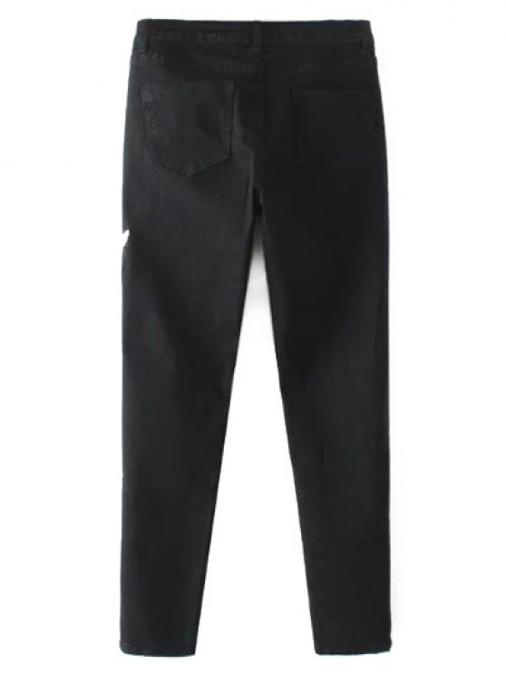 Embroidered Tapered Jeans - BLACK S Mobile